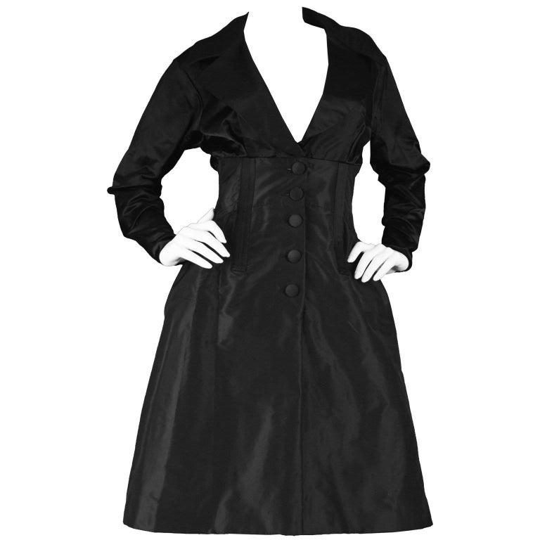 Christian Lacroix Vintage Black Duchesse Satin & Taffeta Boned Dress, A/W 1996