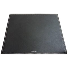Hermes Black Blue Leather Men's Miscellaneous Gift Desk Table Pad