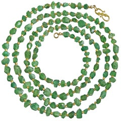 One of a Kind Faceted Green Tourmaline Gold Long Necklace