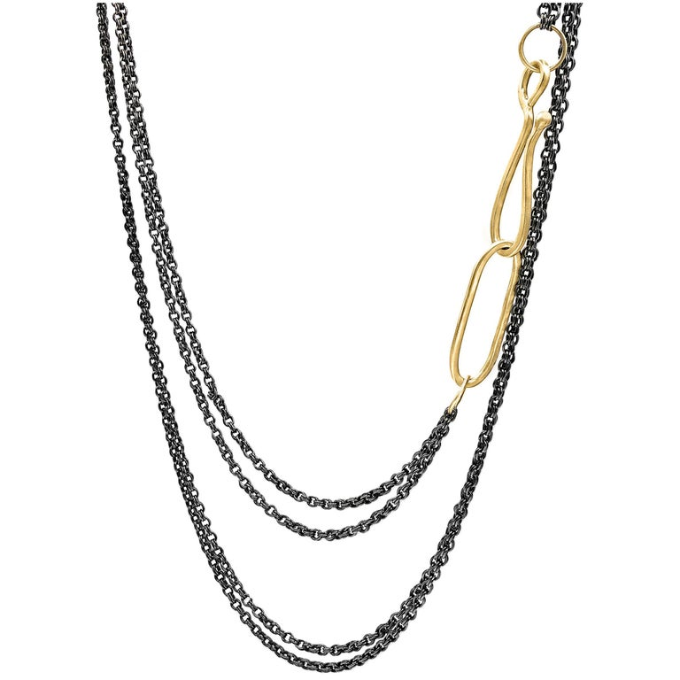 Lisa Ziff Double Black Rhodium Silver Gold Link Clasp Long Layer Chain Necklace For Sale