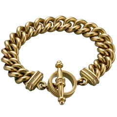 Michele Berman 18 Karat Gold Curb Link Toggle Bracelet