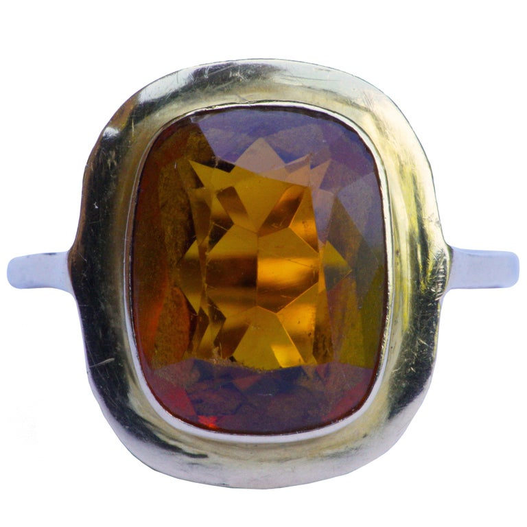 Vintage 1950s 18ct Gold and Citrine Ring For Sale