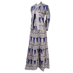 Oscar de la Renta Vintage Dress and Jacket in Blue With Silver Metallic Brocade