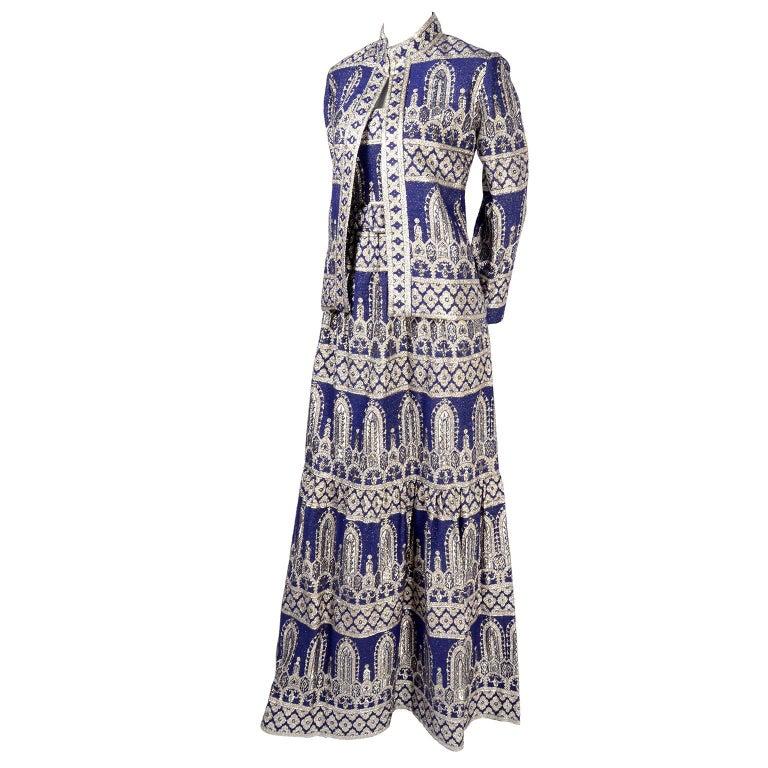 Oscar de la Renta Vintage Dress & Jacket in Royal Blue & Silver Metallic Brocade For Sale