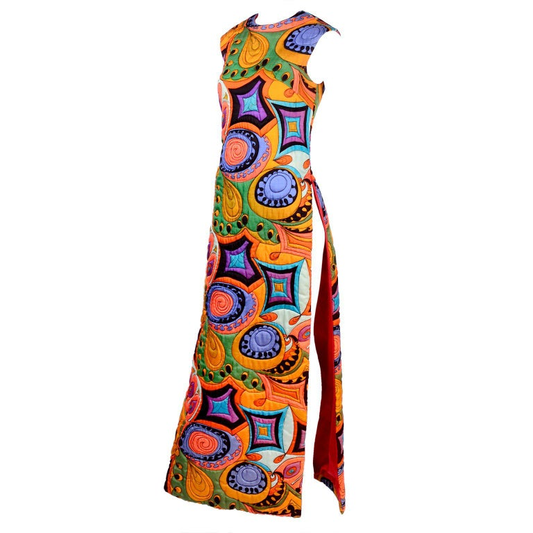 7123d782 1960's Dynasty Colorful Quilted Hostess Tunic Dress W/ Side Slit For Sale