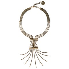 Lanvin Runway Brass Geometric Choker Long Pendant Necklace