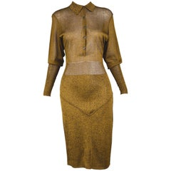 Azzedine Alaia Vintage Gold and Black Rayon Knit Long Sleeve Dress, 1980s