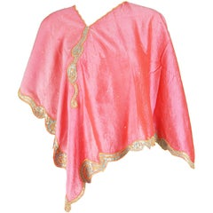 Georgina von Etzdorf Vintage Pink Embroidered Silk Poncho Cape, 1990s