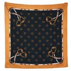 Gucci blue and bronze silk scarf, 80s
