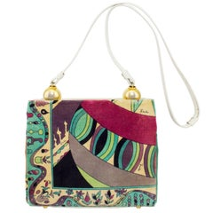 Pucci Velvet Printed Purse With White Leather Trim, 1960s