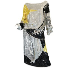 1983 Halston Sequin and Bead Covered Top & Skirt Dress Set