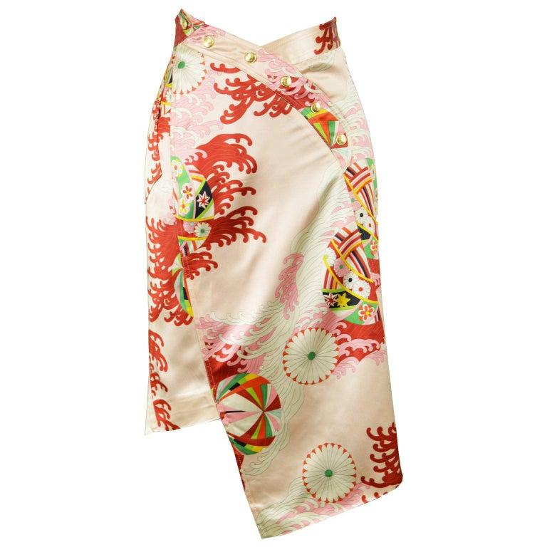 Christian Dior by John Galliano Asian Print Pink Satin Asymmetrical Skirt