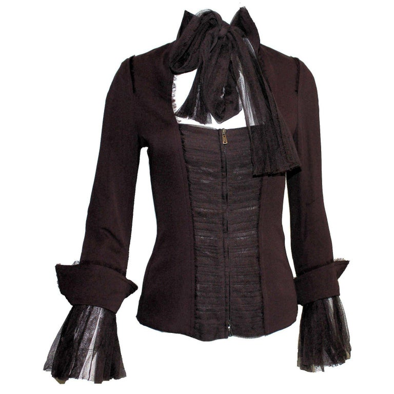 5a0d721603a Amazing 2002 Yves Saint Laurent by Tom Ford YSL Tulle Silk Jacket Blazer  For Sale