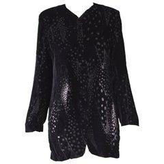 Georgina von Etzdorf Black Silk Devore Burnout Velvet Evening Jacket, 1980s