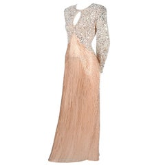 Oleg Cassini Vintage Pink Silk Beaded Dress Evening Gown With Pearls and Sequins