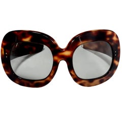 Faux Tortoise Oversized Vintage Sunglasses Made in France, 1960s