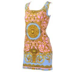 1992 VIntage Gianni Versace Dress in Pink Blue Gold Denim Atelier Medusa Print