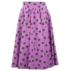 1986 YSL Yves Saint Laurent Purple Polka Dot Midi Skirt