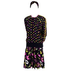 Julie Francis 1980s Silk Dress in Polka Dot Abstract Paisley Pattern Mix & Scarf
