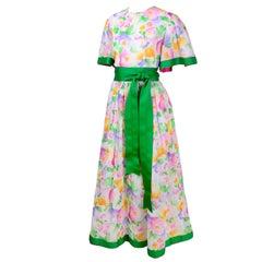 William Pearson Dress in Watercolor Floral Print Cotton & Organza W/ Green Trim