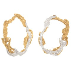 Loveness Lee Dzovag Natural Textured Gold and Silver Hoop Earrings