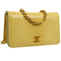 Chanel Nude Lizard Gold WOC Clutch Evening Flap Shoulder Bag