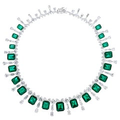 Real Looking Faux Emerald Cubic Zirconia Sterling 1950s Style Necklace
