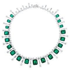 Faux Emerald Cubic Zirconia Sterling 1950s Style  La Grande Soiree Necklace