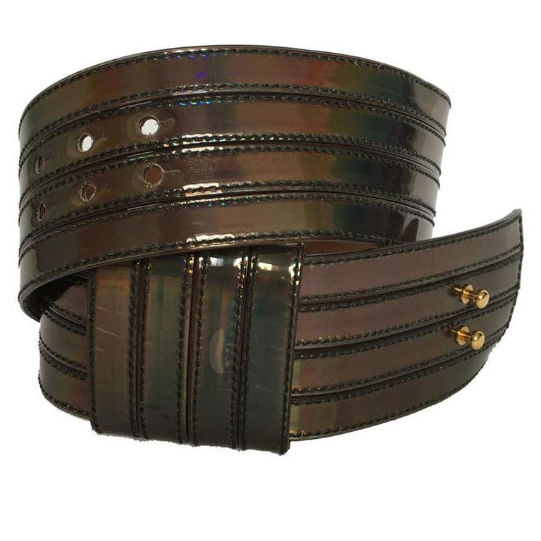ALEXANDER McQUEEN Wide Belt in Silver Leather with Metallic Effect For Sale