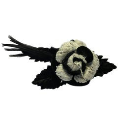CHANEL Camellia Brooch in White Tweed and Black fabric