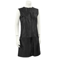 1960's Teal Traina Black Pony Hair Dress and Jacket Set