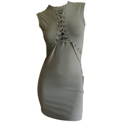 Christian Dior by John Galliano Military Green Mini Dress Corset Lace Details