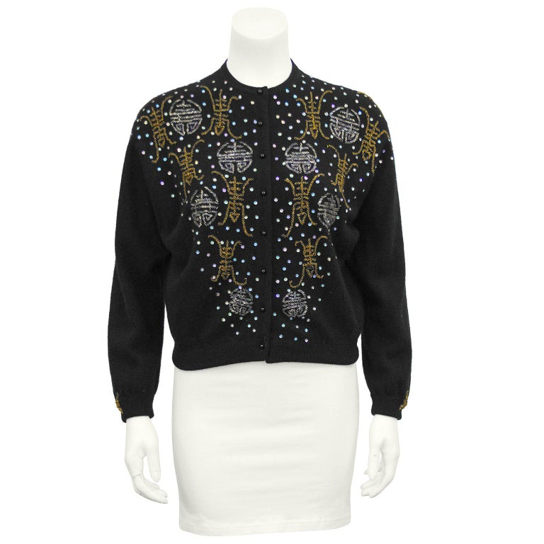 1950s Black Hong Kong Beaded Sweater For Sale