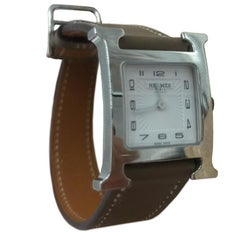 Hermes Stainless Steel Heure H PM etoupe Quartz Wristwatch