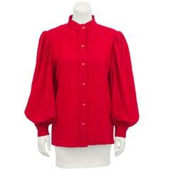 1960s Yves Saint Laurent YSL Red Balloon Sleeve Shirt