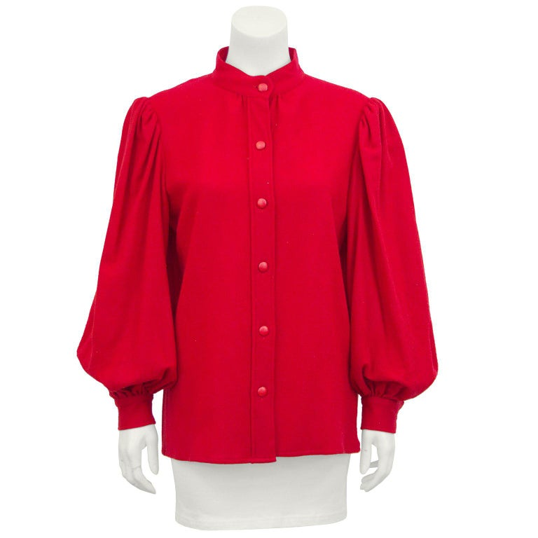 a30d3dddedd 1960s Yves Saint Laurent YSL Red Balloon Sleeve Shirt For Sale. 1960s YSL Rive  Gauche label red wool ...
