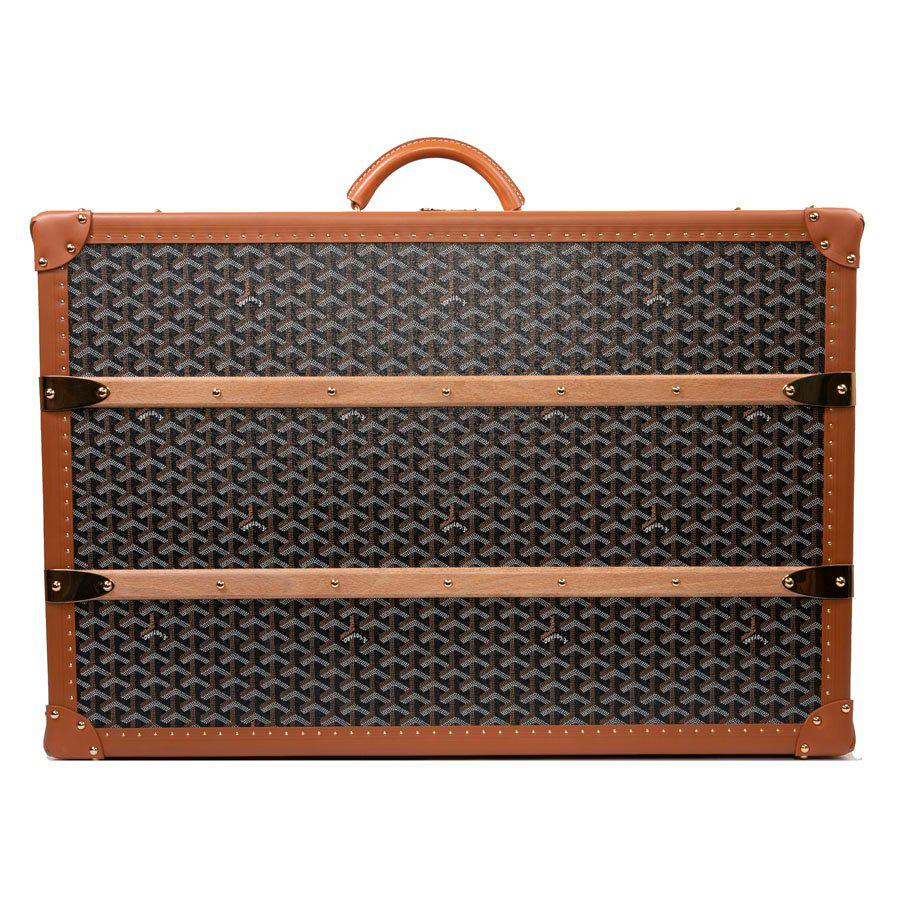 Goyard brown monogram Canvas and Leather Large Travel trunk