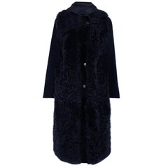 Yves Salomon Hooded Shearling and Wool-Blend Coat