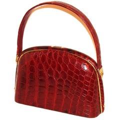 Architectural Deep Red Alligator Handbag Vintage FALL!