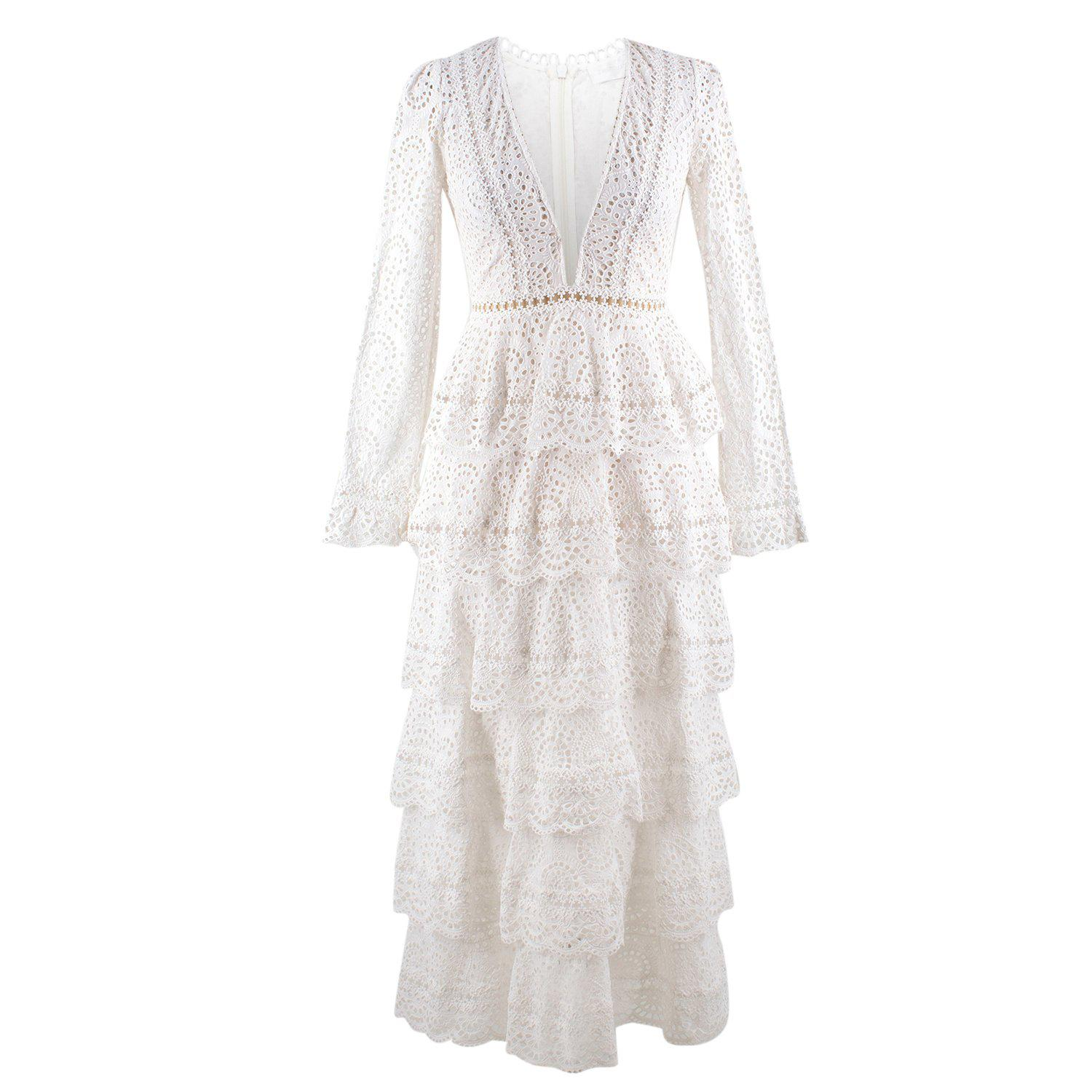 8d2c096c901 Zimmermann Bayou Cotton Broderie Anglaise Midi Dress US size 0 For Sale at  1stdibs