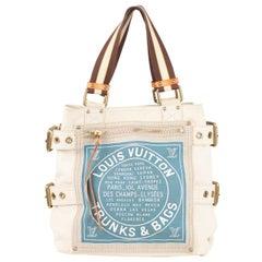 Louis Vuitton Limited Edition Blue Canvas Globe MM Shopping Bag