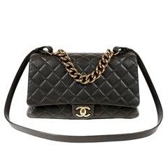 Chanel Black Leather Large Flap Bag