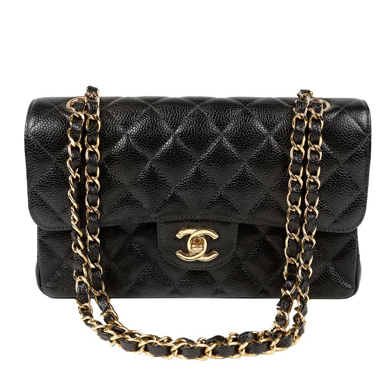 710e3413a870 Chanel Black Caviar Small Classic Double Flap Bag with Gold Hardware For  Sale