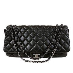 Chanel Black Leather Jumbo Coco Rain Flap Bag