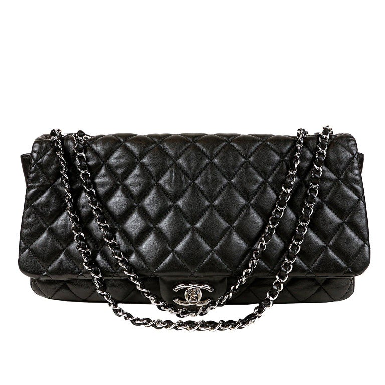 c929d59a2b6a Chanel Black Leather Jumbo Coco Rain Flap Bag For Sale at 1stdibs