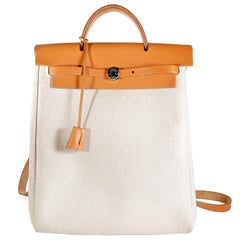 Hermès Toile and natural Leather Her Bag Backpack