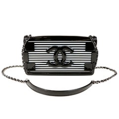 Chanel Black and White Striped Resin Patent Leather Boy Brick Bag