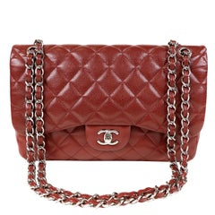 Chanel Red Caviar Jumbo Classic Flap Bag