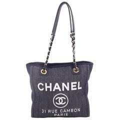 Chanel North South Deauville Chain Tote Denim Small