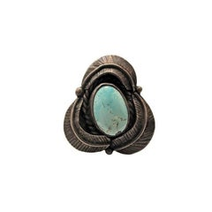 American Indian Squash Leaves Turquoise Ring